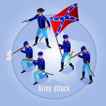 Army attack Wild West America Illustration isometric icons on isolated background