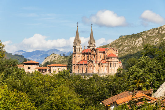 Cangas de Onis, Spain. The Royal Basilica and Shrine of Our Lady of Covadonga, a famous pilgrimage site in Asturias