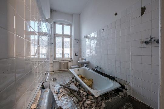 old bathroom during renovation - flat renovation concept -