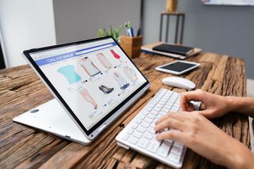 Businesswoman Doing Online Shopping Wall mural