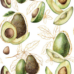 Watercolor golden seamless pattern with linear avocado and leaves. Hand painted tropical summer fruits isolated on white background. Floral elegant illustration for design, print, fabric, background.