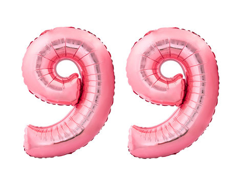 Number 99 ninety nine made of rose gold inflatable balloons isolated on white background. Pink helium balloons forming 99 ninety nine number