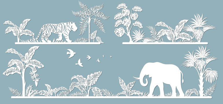 Animals on the line. Laser cut paper, template for DIY scrapbooking. Palm trees, tiger, elephant. Animals, wildlife, bird, tree, grass, leaves. From paper for plotter.