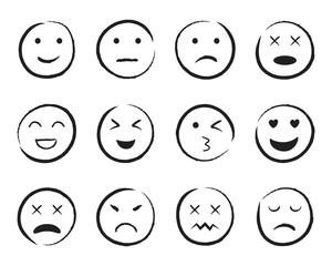 Emiji smile face hand drawn style. Happy, sad, angry face doodle icon. Emoji for social media. Cartoon people faces on isolated background. Expression emotion line style. Design vector