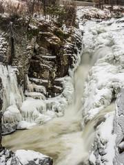 Frozen waterfalls in Adirondack Mountains