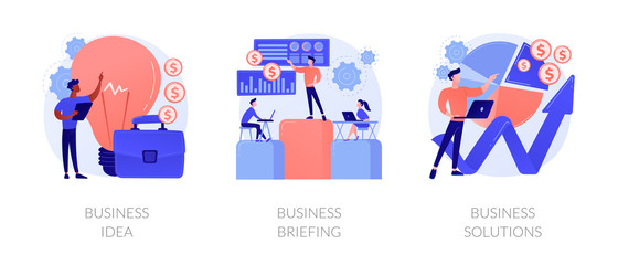 Successful development icons set. Innovative project, team building, analytical software. Business idea, business briefing, business solutions metaphors. Vector isolated concept metaphor illustrations