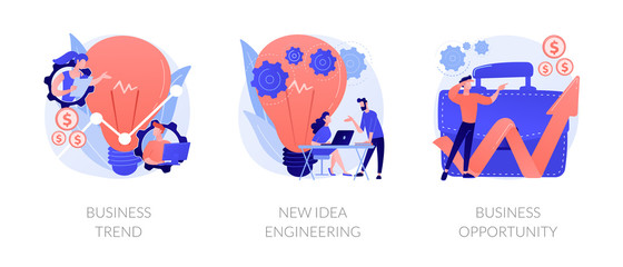 Professional marketing research, team collaboration, solutions search icons set. Business trend, design thinking, business opportunity metaphors. Vector isolated concept metaphor illustrations
