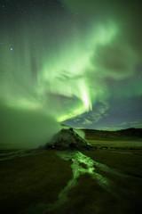Acrylic Prints Olive Aurora Borealis (Northern Lights) above geothermal volcanic vents in Hveravellir