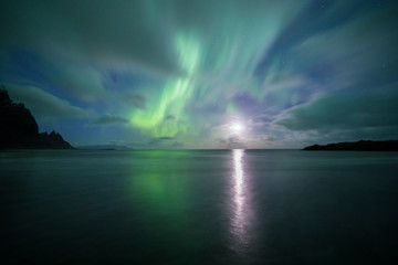 Wall Mural - Aurora Borealis (Northern Lights) above Stokksnes Beach and Vestrahorn Mountains, Iceland