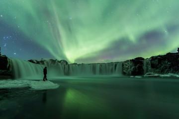 Northern Lights (Aurora Borealis) above Godafoss Waterfall, Iceland