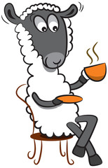 A happy sheep is having a great coffee time.