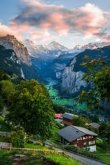 Fotobehang Alpen Sunset in Wengen Switzerland