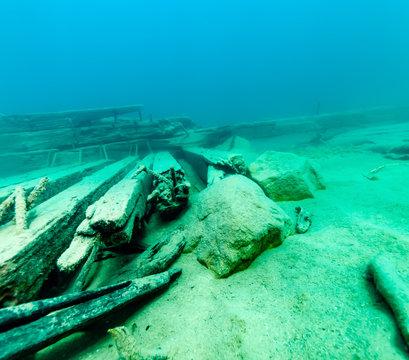 Old shipwreck in the Alger Underwater Preserve in Lake Superior