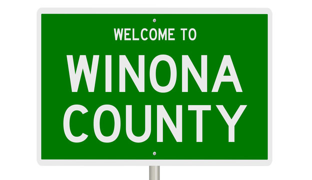 Rendering of a green 3d highway sign for Winona County