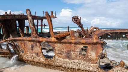 Fototapeten Schiffbruch Details of the SS Maheno Ship Wreck on Fraser Island