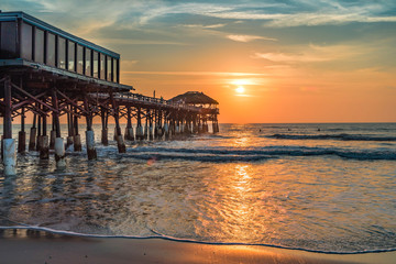 old wooden pier at sunrise in Florida