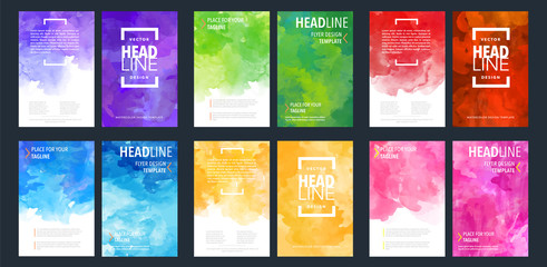 Fotobehang - Brochure template design bundle set for layout, flyer cover with watercolor background