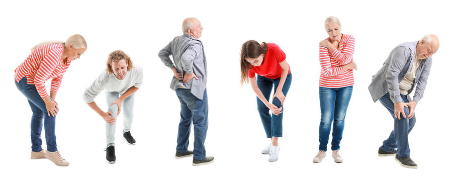 Set of people suffering from pain in joints and back on white background