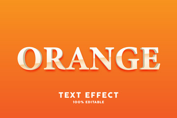 3D orange simple text effect, editable text Wall mural