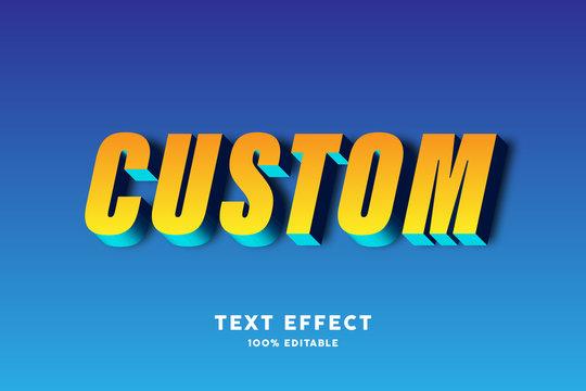 3D yellow blue text effect, editable text