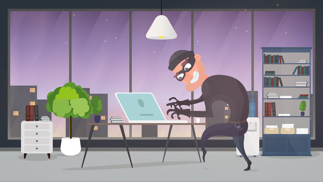 Thief in the office. A robber steals data from a laptop. Safety concept. Thief man stealing an apartment. A robber robbed a house. Flat style. Vector illustration.