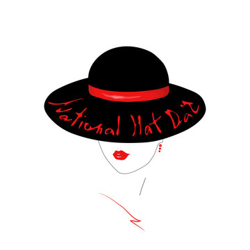Young woman Face contour with red gloss lips. Girl in an elegant black hat  with Handwritten text National Hat Day.
