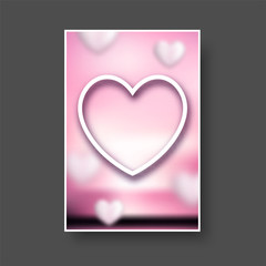 Fototapete - Valentines pink card with paper heart.