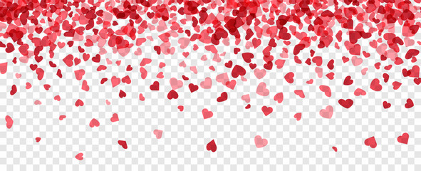 Fototapete - Love valentine's background with pink falling hearts over transparent grid.