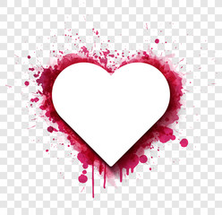 Fototapete - White paper card over pink grunge heart with brush splashes.