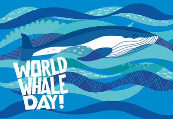 World whale day. Holiday card. Stylish whale swims along the decorative waves. Vector hand drawing
