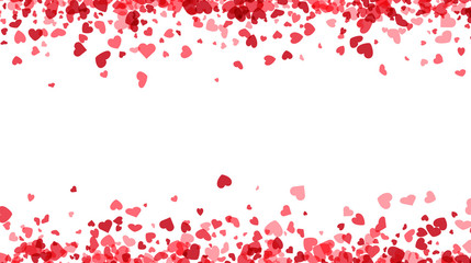 Love valentine's background with pink falling hearts over white.