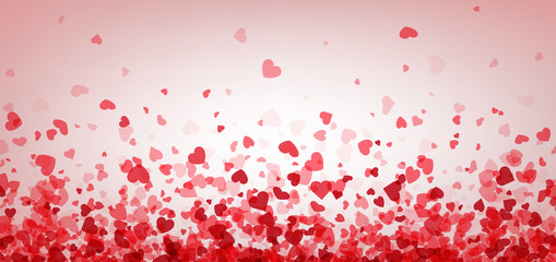 Fototapete - Valentines day card. Heart confetti falling over pink background for greeting cards, wedding invitation.