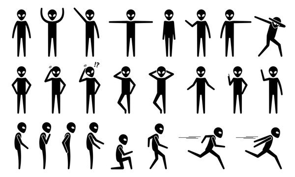 Basic alien UFO body poses and postures stick figure pictogram icons. Vector illustrations of alien standing, moving, talking, walking, running, and other movement actions.