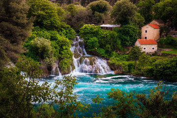 Wall Mural - Stunning Krka National Park with picturesque waterfalls, Sibenik, Dalmatia, Croatia
