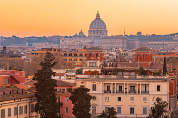 View of sunset city Rome from Castel Sant Angelo, Saint Peters Square in Vatican Fotomurales