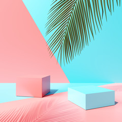 Blank product podium stand with tropical leaf on colorful background. Summer concept. 3d rendering