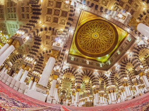 A fisheye view of a Nabawi mosque in Al Madinah, Saudi Arabia.
