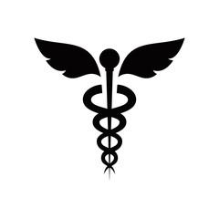 Caduceus snakes and bird wings, healthcare conceptual vector symbols. medical & healthcare logo