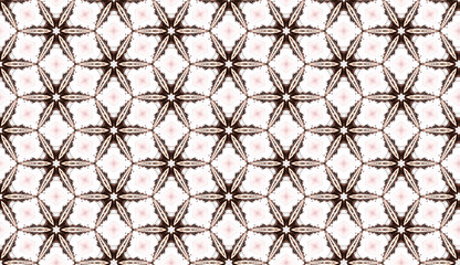 Star shaped background texture in geometric ornamental style in brown colour. symmetric design template with ornate elements. Abstract repeated backdrop. Wall mural