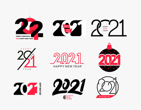 Big collection of logo 2021 Happy New Year signs. Set of 2021 Happy New Year symbols. Greeting card artwork, brochure template. Vector with black holiday labels isolated on white background.