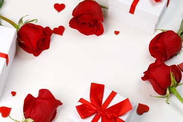 Wall Mural - Red roses hearts gifts card