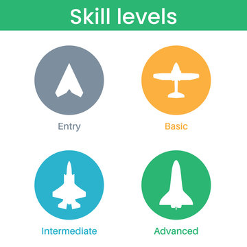 Expertise, competence, skill or experience level icons.