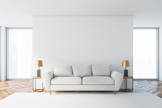 White living room interior with white sofa