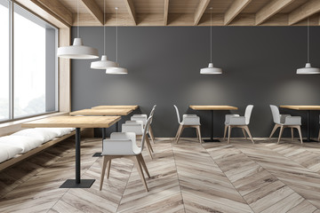 Gray and wooden loft cafe interior with benches