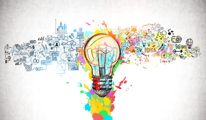 Bright idea and creative thinking Fotobehang