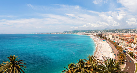 Canvas Prints Nice Panoramic, aerial view of Promenade des Anglais in Nice on a sunny day