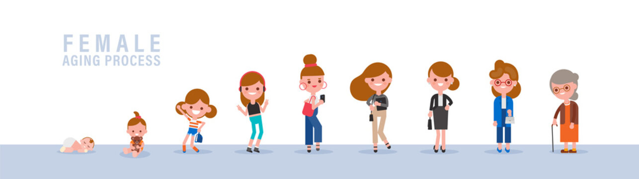 Female from child to old. Isolated vector cartoon illustration in flat design style.