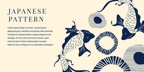Zelfklevend Fotobehang Vlinders in Grunge Japanese Koi Fish Illustration