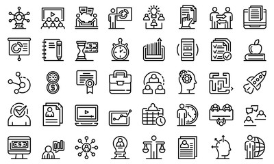 Business training icons set. Outline set of business training vector icons for web design isolated on white background