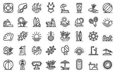 Beach landscape icons set. Outline set of beach landscape vector icons for web design isolated on white background